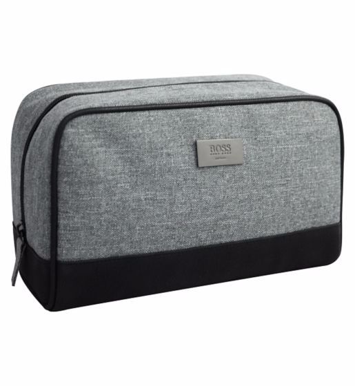 Brand New 100 Genuine Hugo Boss Mens Toiletry Wash Shave Travel Pouch Bag Grey