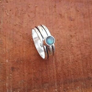Labradorite-Solid-925-Sterling-Silver-Spinner-Meditation-Statement-Ring-Rp11