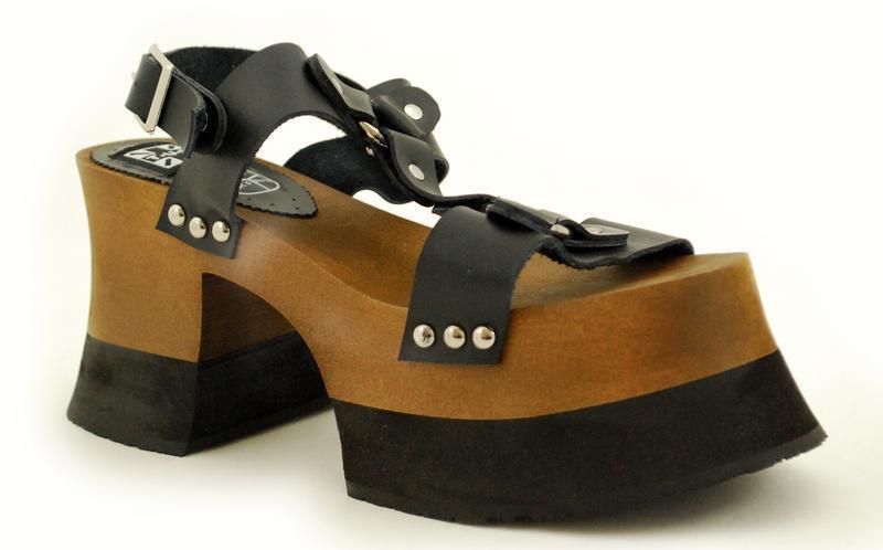 Descuento de la marca Descuento por tiempo limitado T.U.K A8684L Black Leather Harness Sandal Wood & Eva Woody