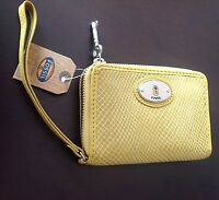 Fossil Embossed Leather Wallet/wristlet Mineral Yellow Key Msrp: $55.00