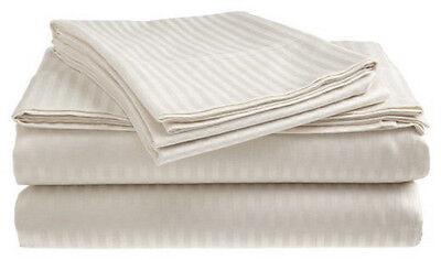 Twin Size White 400 Thread Count 100% Cotton Sateen Dobby Stripe Sheet Set