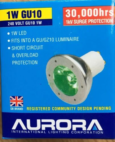 Genuine Aurora GU10 Decorative LED bulbs 1w GREEN LED 30,000hrs