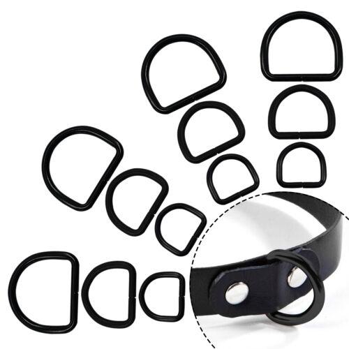 Metall Schwarz D Ring Schnallen 20//25//32mm Größe Für Handtasche Gewebe Kragen /&