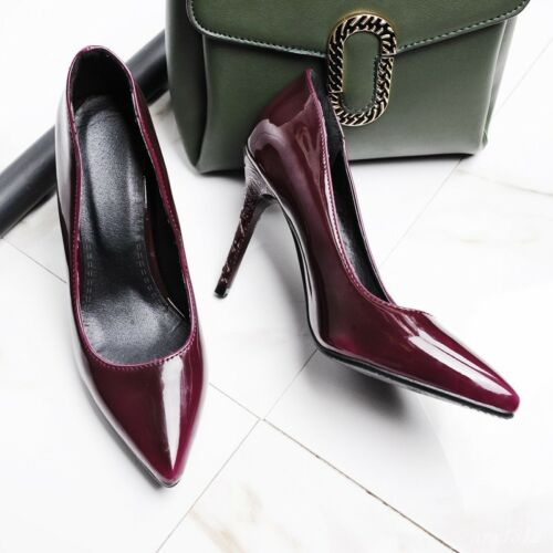 Chic femmes bout pointu et talon aiguille haut Slip On Classic Party Chaussures Brillant Décontracté