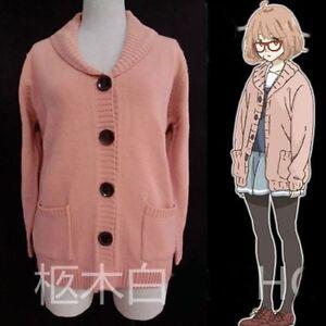 NEW-Beyond-the-Boundary-Mirai-Kuriyama-Women-Cosplay-Sweaters-Cardigan-Pockets