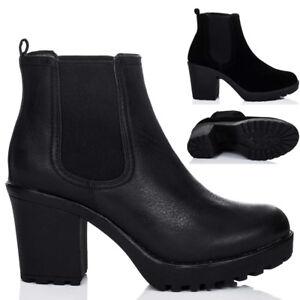 pas cher pour réduction 6053c 63342 Détails sur Chaussures Femme Plateforme Bottes À Crampons Talon Bloc  Bottines Chaussures- afficher le titre d'origine