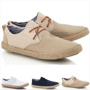 Mens Boys Lace up Casual Canvas Jute Mesh Espadrilles Summer Deck Shoes Size
