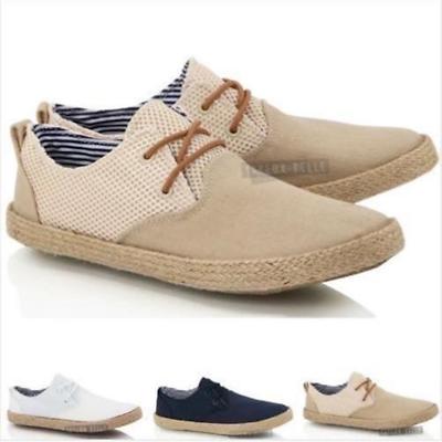 Mens Boys Lace Up Casual Canvas Jute Mesh Espadrilles Summer Deck Shoes Size Kunden Zuerst