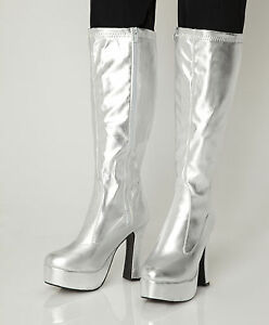 silver gogo boots womens retro knee high platform boots