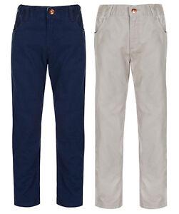 Boy-039-s-Pantalon-Kids-Casual-Beige-amp-Bleu-Marine-En-Coton-Pantalon-Chino