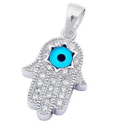 """Micro Pave Cz & Blue Evil Eye Hand of God .925 Sterling Silver Pendant 1"""" long"""