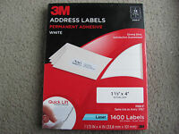"3m Address Label Permanent Adhesive White 3100-f (1 1/3"" X 4"") 1400 Labels"