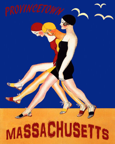 POSTER FASHION GIRLS SWIMSUIT BEACH IN PROVINCETOWN MASS VINTAGE REPRO FREE S//H