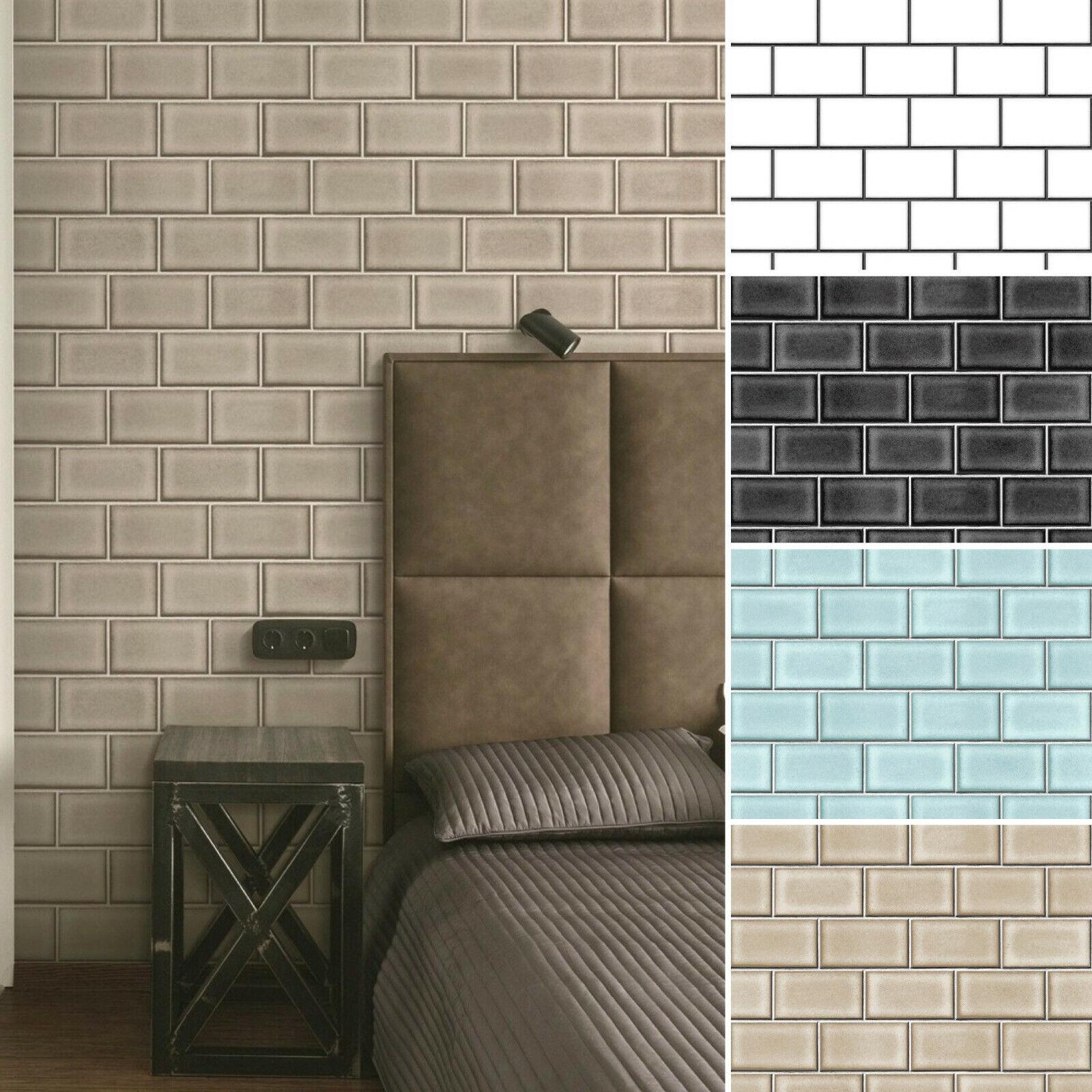 Details zu Vlies Tapete Backstein Ziegelstein Fliesen Muster Mauerziegel  Brick Tile