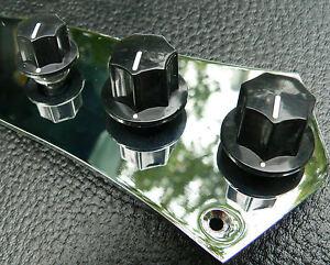 Details about Black tone & volume domed knob set (3 knobs) for Vintage  Fender Jazz Bass guitar