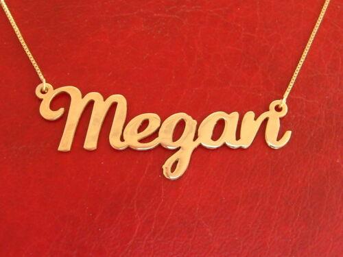 real gold name necklace 14k 14 ct 14 carat 14 karat gold Megan name necklace