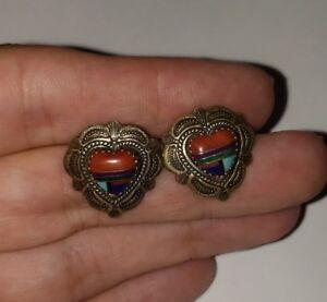 Vintage GS Sterling Silver Southwestern Heart Earrings