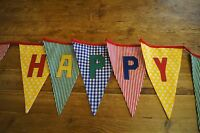 HAPPY BIRTHDAY handmade fabric bunting red yellow green blue