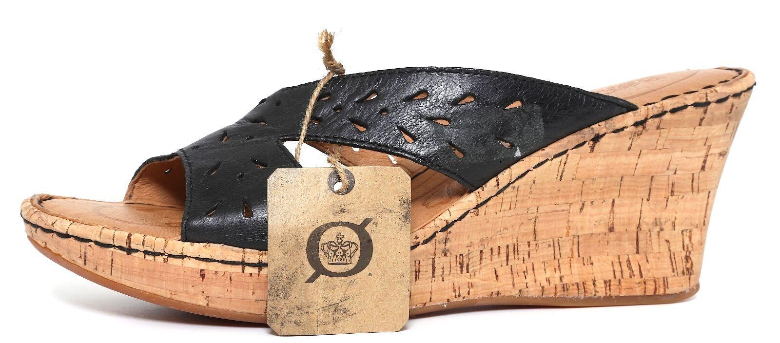 Born Wedge Sandals Leather Black Women Sz 10 5427
