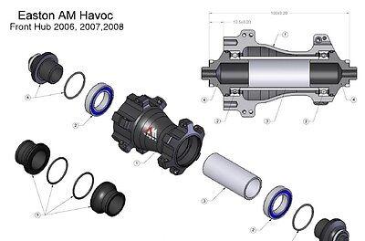 EASTON AM HAVOC 06 TO 08 REAR HUB PREMIUM STEEL BALL BEARING REBUILD KIT
