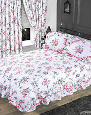 Item 1 Pink Lilac Purple Fl Rose White Frilly Duvet Cover Bedding Set Or Curtains