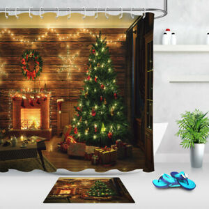 Details About Rustic Wood Wall Decor Xmas Tree Fireplace Fabric Shower Curtain Set Bath Decor