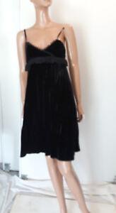 magnifique-robe-en-velours-MANGO-volant-et-plisse-36-noir