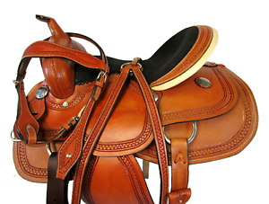 SMOOTH LEATHER WESTERN BARREL RACING WESTERN SADDLE SILLA DE CABALLO 15  16