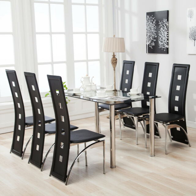 7 Piece Dining Table Set 6 Chairs Black Glass Top Faxu Leather Kitchen Room