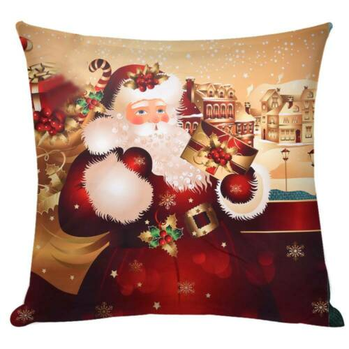 "18/"" Christmas Santa Cushion Cover 3D Pillow Case Sofa Throw Xmas/"" Decorations"
