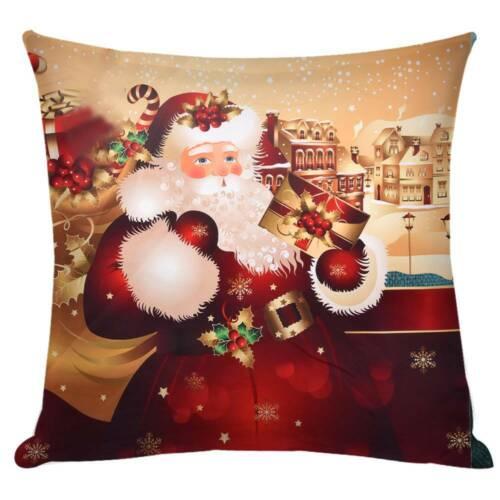 "18/"" Christmas Santa Cushion Cover 3D Pillow Case Sofa Throw Xmas/"" Decorations"