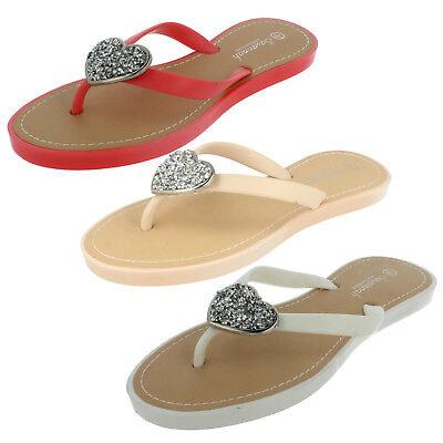 SALE Ladies Savannah Collection flip flop sandal with flower motif F0790