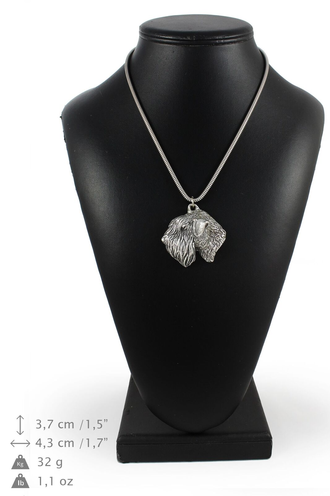 Wheaten Terrier - silver plaqué collier sur une cordon en silver Art Dog FR