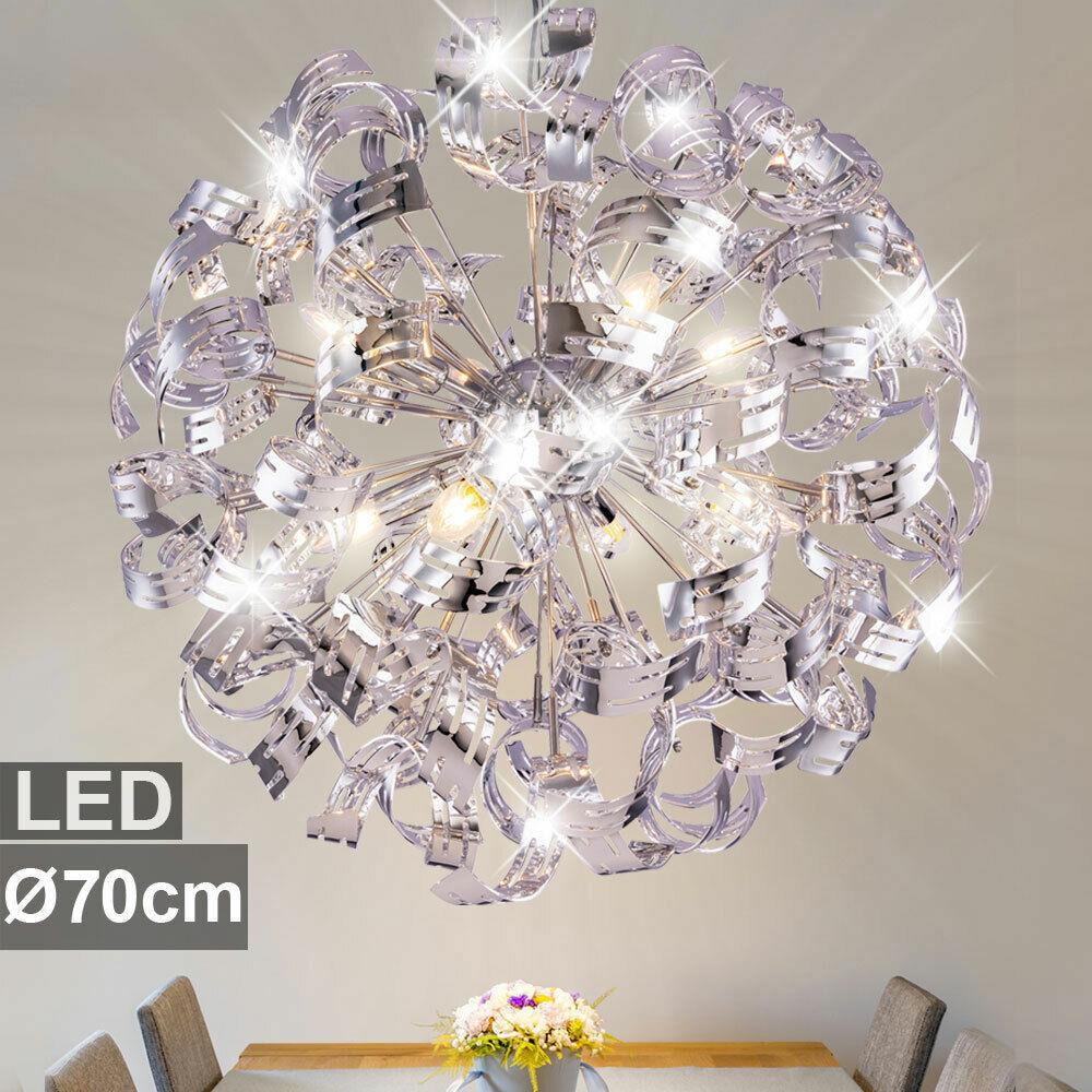 LED Chrom Decken Lampe Hänge Leuchte Design Pendel Kugel Ess Zimmer Beleuchtung