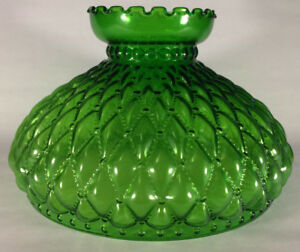 10-034-Green-Oil-Kerosene-Glass-Diamond-Quilted-Student-Lamp-Shade-fits-Aladdin-405