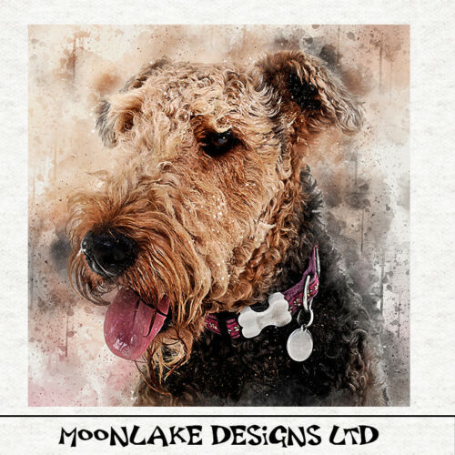 Airedale Terrier Fabric Cushion Craft Quilting Panel watercolour splatter