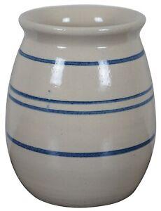 "Primitive Antique Navy Blue Striped Salt Glaze Stoneware Crock Pot 8"""