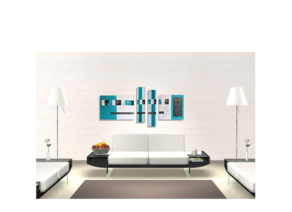 Mk1 Art Image Toile abstrait tableau peinture art peinture tableau modern images acrylique turquoise ec6012