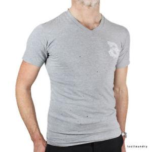 Balmain-Grey-Cotton-Distressed-Slim-Fitting-V-Neck-Top-T-Shirt-XS-IT46