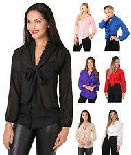 Womens Ladies Chiffon Blouse Long Sleeve Pussy Bow Top Plain Shirt Office Party