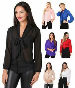 Womens-Ladies-Chiffon-Blouse-Long-Sleeve-Pussy-Bow-Top-Plain-Shirt-Office-Party
