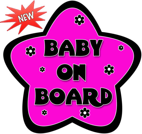 Non Personalised Baby On Board Car Sign ~ Hot Pink and Black Daisy ~ New!