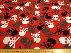 Poly-cotton-Fabric-Dress-RED-with-LARGE-Skulls-Pirate-Gothic-112-cm