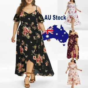 Plus-Size-Women-Strap-Short-Sleeve-Cold-Shoulder-Boho-Flower-Print-Long-Dress-AU