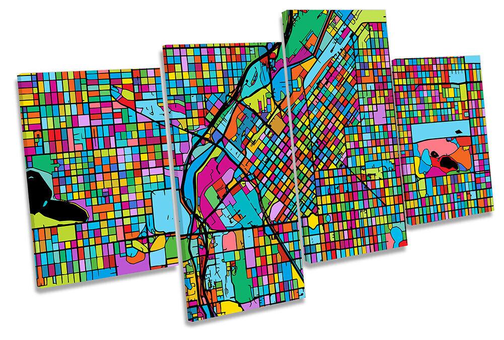 Denver Stadt Modern Map Bild MULTI CANVAS Wand Kunst Drucken Orange