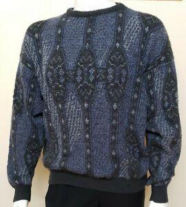 Vintage-Jantzen-Herren-Pullover-Gr-L-Blau-Geometrische-Pullover-Opa-Acryl-Knit