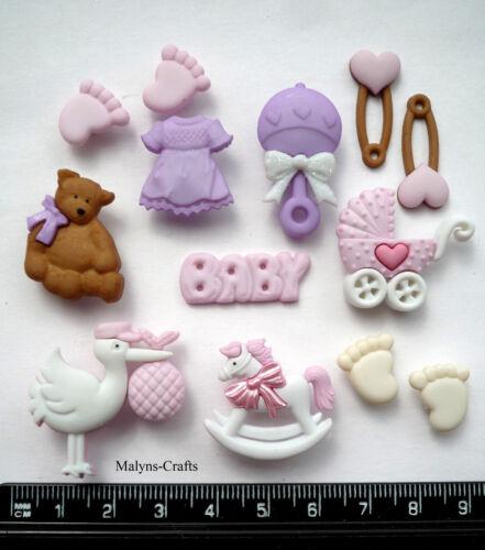 ITS A GIRL Baby Craft Buttons 1ST CLASS POST Christening Birth Nursery DRESS UP