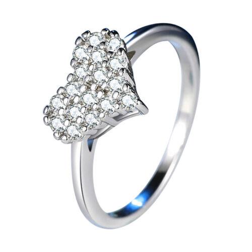 2 mm AAA Cz Heart Love Band Femme Argent 925 Cadeau de Mariage lisse anneau Taille 4-10