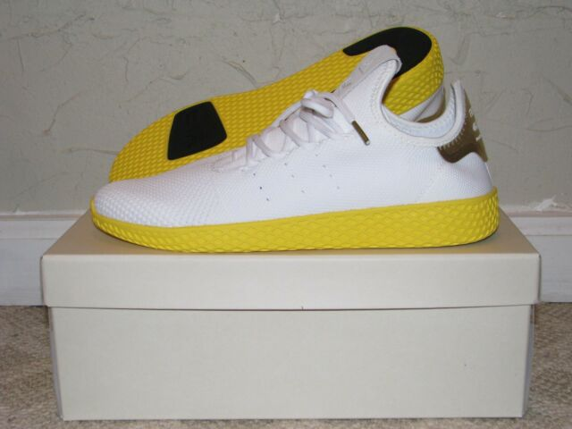 3920fe1bd653c adidas PW Tennis Hu White Yellow Mens Size 9.5 DS NEW! BY2674 Pharrell  Williams