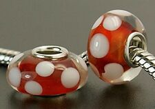 3 pcs Murano Glass Beads Red Fits European Charm Bracelet or Necklace G37